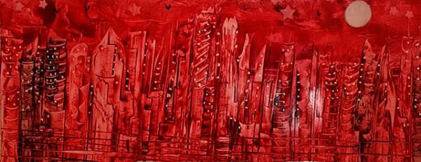 """""""Red City"""" - Encaustic"""