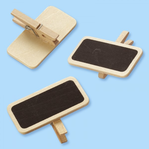 Mini-Holztafel mit Klammer 4 x 2 x 3 cm, Btl. à 6 St.