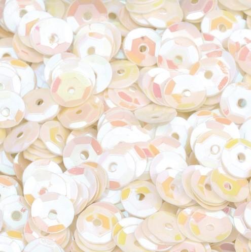 Pailletten, rund, gewölbt, ø 6 mm, 40 g / ~ 4.000 Stk., Farbe: weiß
