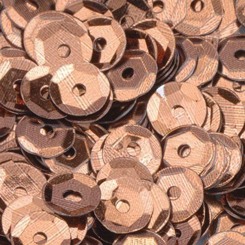 Pailletten, rund, gewölbt, ø 6 mm, 40 g / ~ 4.000 Stk., Farbe: braun