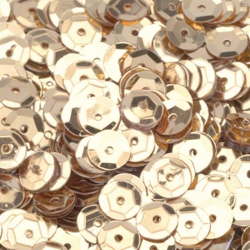 Pailletten, rund, gewölbt, ø 6 mm, 40 g / ~ 4.000 Stk., Farbe: gold