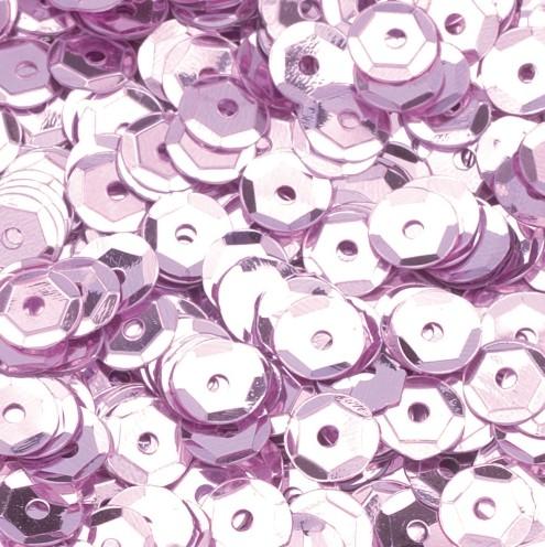 Pailletten, rund, gewölbt, ø 6 mm, 40 g / ~ 4.000 Stk., Farbe: rosa