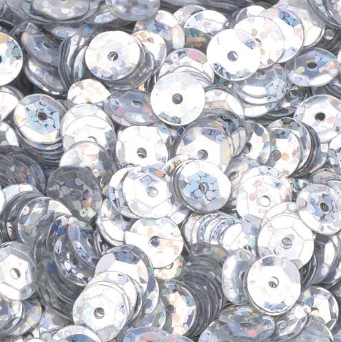 Pailletten, rund, gewölbt, ø 6 mm, 40 g / ~ 4.000 Stk., Farbe: silber hologramm