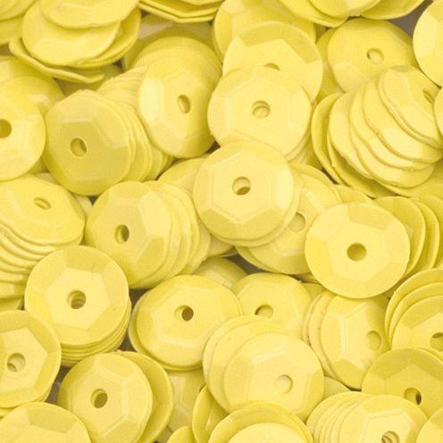 Pailletten, rund, gewölbt, ø 6 mm, 40 g / ~ 4.000 Stk., Farbe: gelb opak