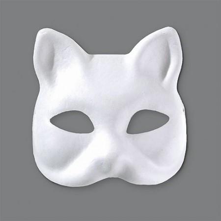 Halbmaske, Katze, 17 x 16,5 cm, Farbe: weiß