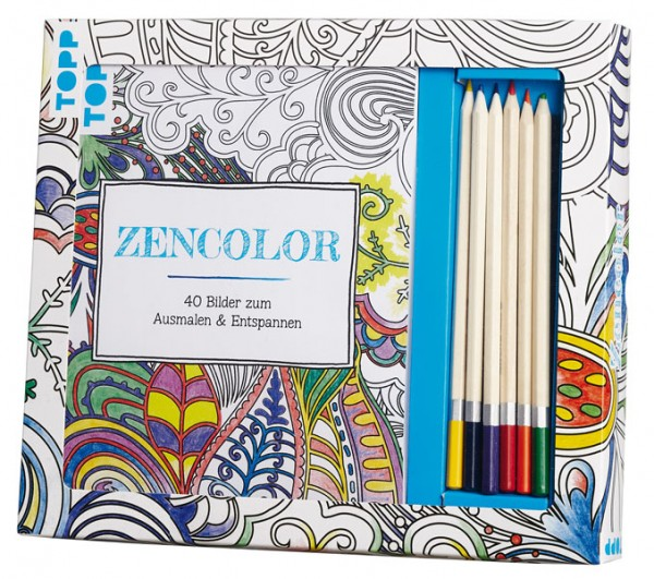 Kreativ-Set Zencolor, m. 6 Buntstiften von