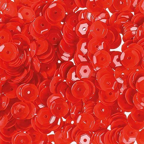 Pailletten, rund, gewölbt, ø 6 mm, 40 g / ~ 4.000 Stk., Farbe: rot opak