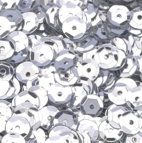Pailletten, rund, gewölbt, ø 6 mm, 40 g / ~ 4.000 Stk., Farbe: silber