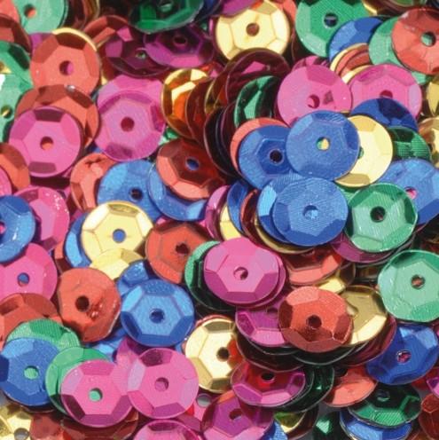 Pailletten, rund, gewölbt, ø 6 mm, 40 g / ~ 4.000 Stk., Farbe: bunt