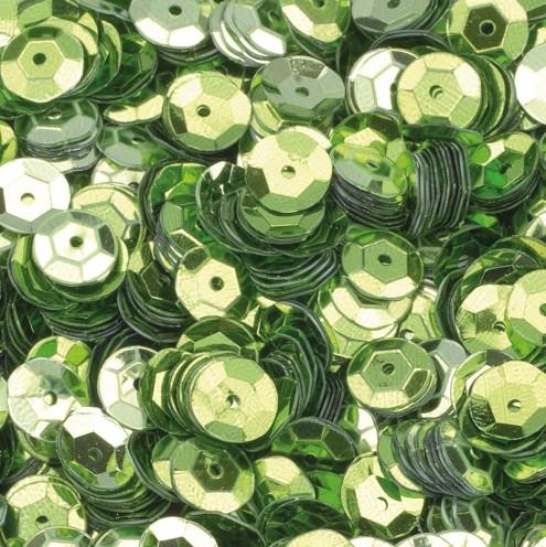 Pailletten, rund, gewölbt, ø 6 mm, 40 g / ~ 4.000 Stk., Farbe: hellgrün