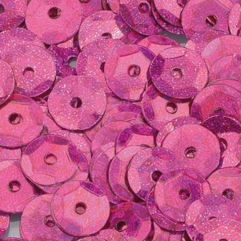 Pailletten, rund, gewölbt, ø 6 mm, 40 g / ~ 4.000 Stk., Farbe: pink hologramm