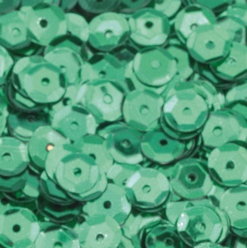Pailletten, rund, gewölbt, ø 6 mm, 40 g / ~ 4.000 Stk., Farbe: grün