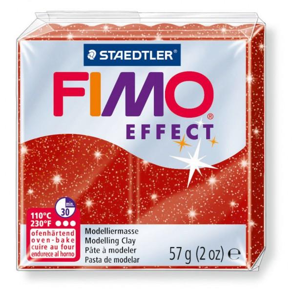 Modelliermasse Fimo effect rot glitter