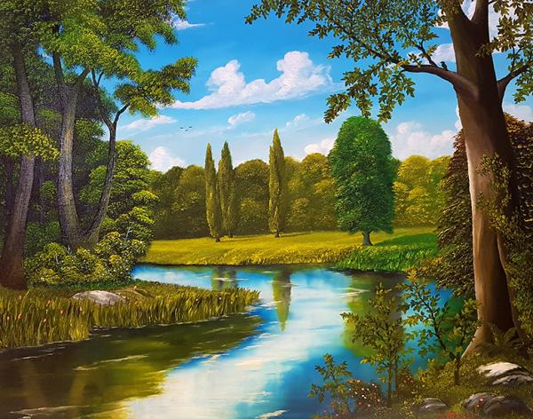 """""""Am Fluss"""" (Ölgemälde – 50 x 60 cm)"""