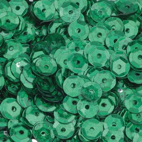 Pailletten, rund, gewölbt, ø 6 mm, 40 g / ~ 4.000 Stk., Farbe: grün hologramm