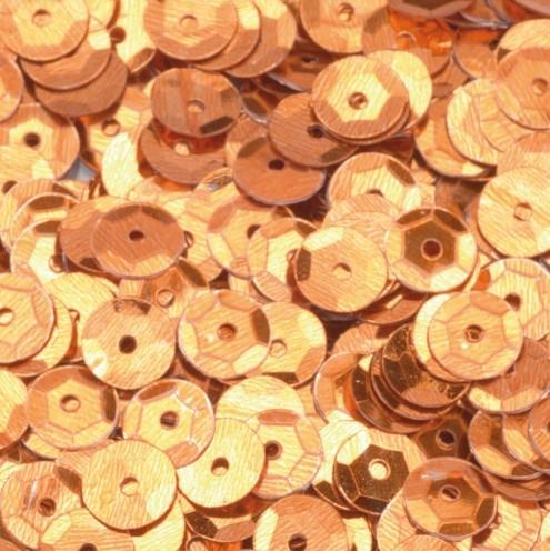 Pailletten, rund, gewölbt, ø 6 mm, 40 g / ~ 4.000 Stk., Farbe: cognac