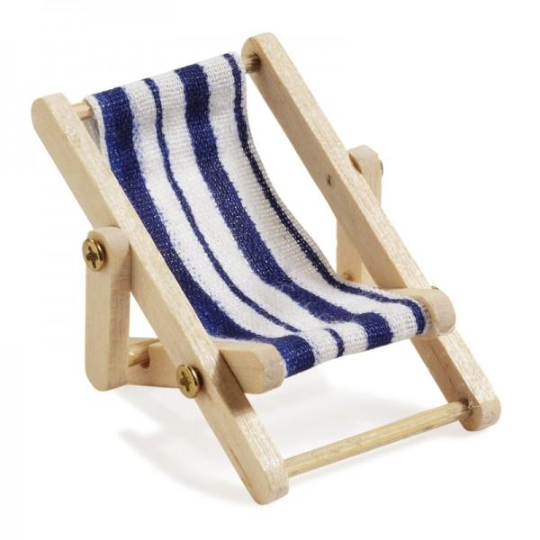 Miniliegestuhl 5 x 3,5 cm blau/weiss