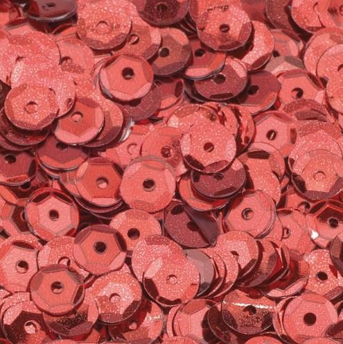 Pailletten, rund, gewölbt, ø 6 mm, 40 g / ~ 4.000 Stk., Farbe: rot