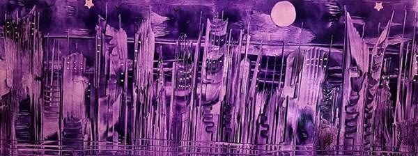"""""""Purple City"""" - Encaustic"""