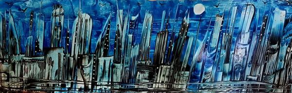 """""""Blue City"""" - Encaustic"""